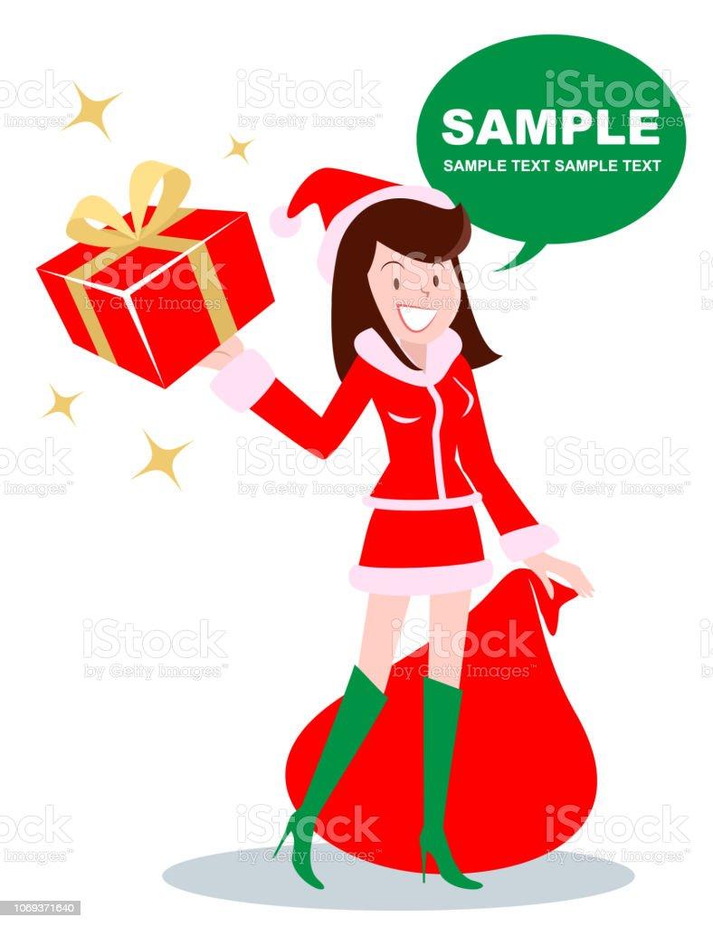 クリスマス ギフト ボックスを運ぶサンタ クロース服で美しい少女 (女性、ショーガール) ベクターアートイラスト