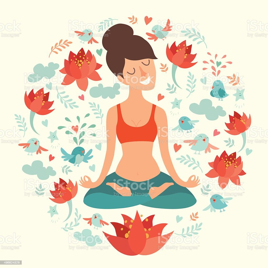Beautiful girl in the lotus position on the circle background vector art illustration