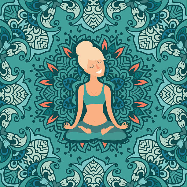 schöne mädchen in der lotus-position - mantra stock-grafiken, -clipart, -cartoons und -symbole