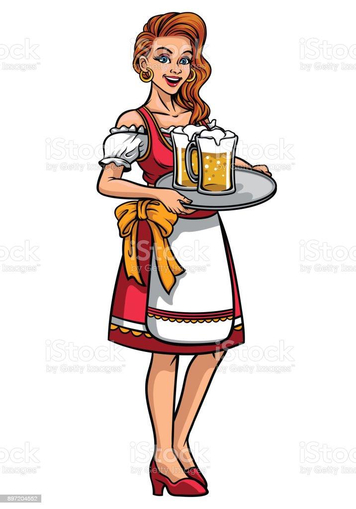 f04cefda5 Ilustración de Hermosa Chica De Oktoberfest Vestido Con Ropa ...
