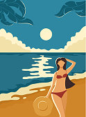 Beautiful girl with hat in her hand on the beach. Nature background with sea or ocean, sandy beach, palm leaves and full moon on night sky, illustration.