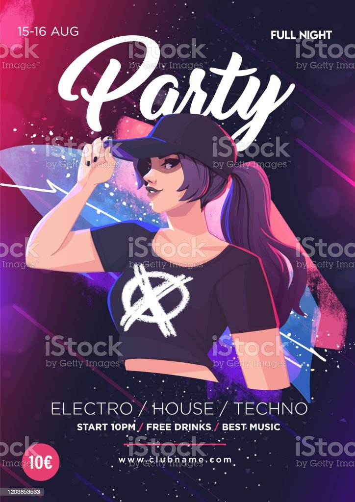 Beautiful Girl On The Background Of Abstract Color Spots Dance Club Night Party Poster Flyer Layout Template Colorful Music Disco Banner Design Stock Illustration Download Image Now Istock