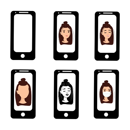Beautiful girl on the phone screen. Emotions of a woman on the screensaver of a smartphone. Remote communication using gadgets. Stock vector illustration for business, internet, social networks.