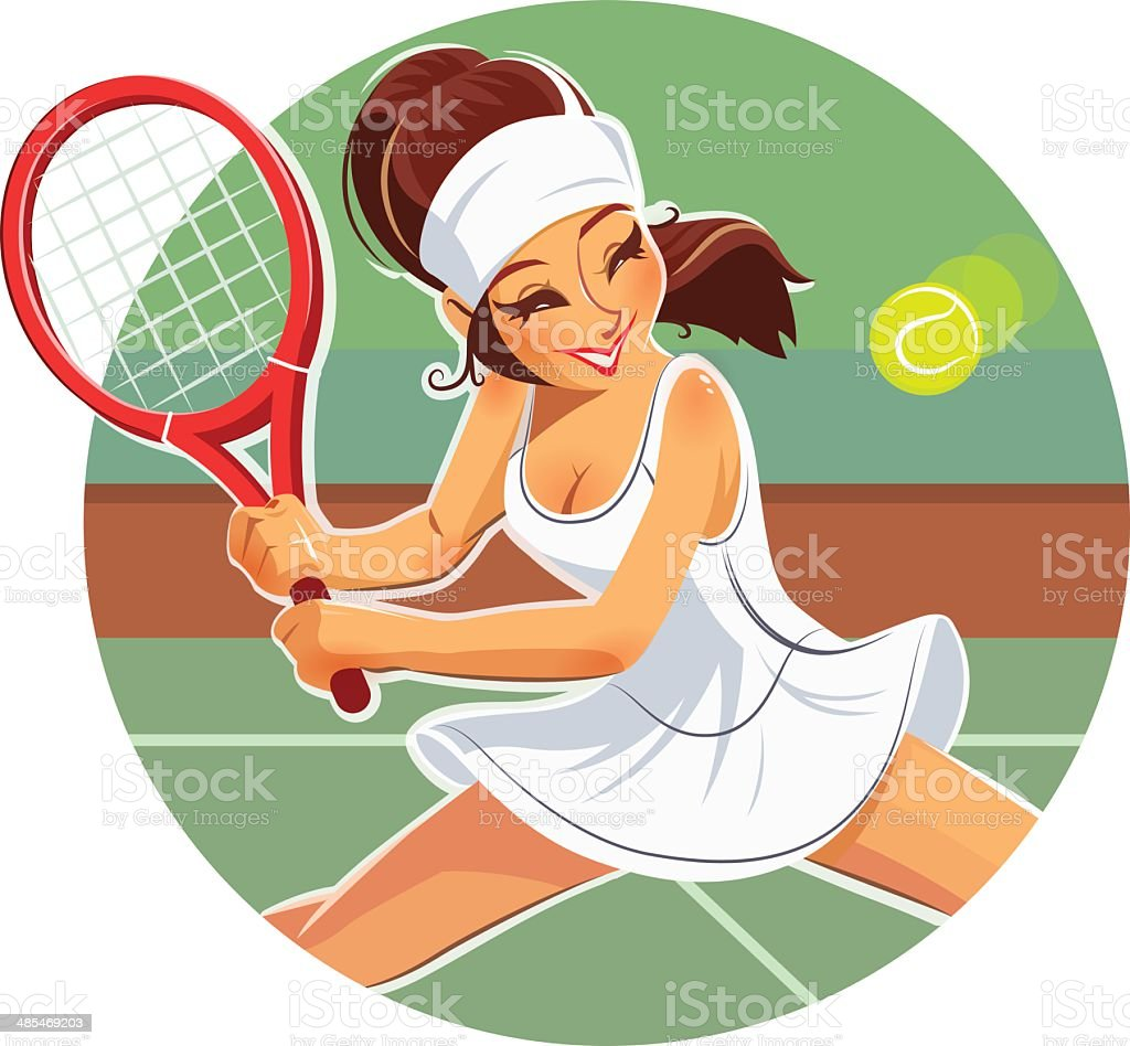 Beautiful girl play tennis royalty-free stock vector art