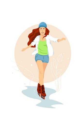 Beautiful girl riding on roller skates. Vector illustration on white background. Sports concept. Skater