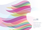 Beautiful girl silhouette with colorful streaming hair. Vector abstract background. Design concept for beauty salon, massage, cosmetic and spa.