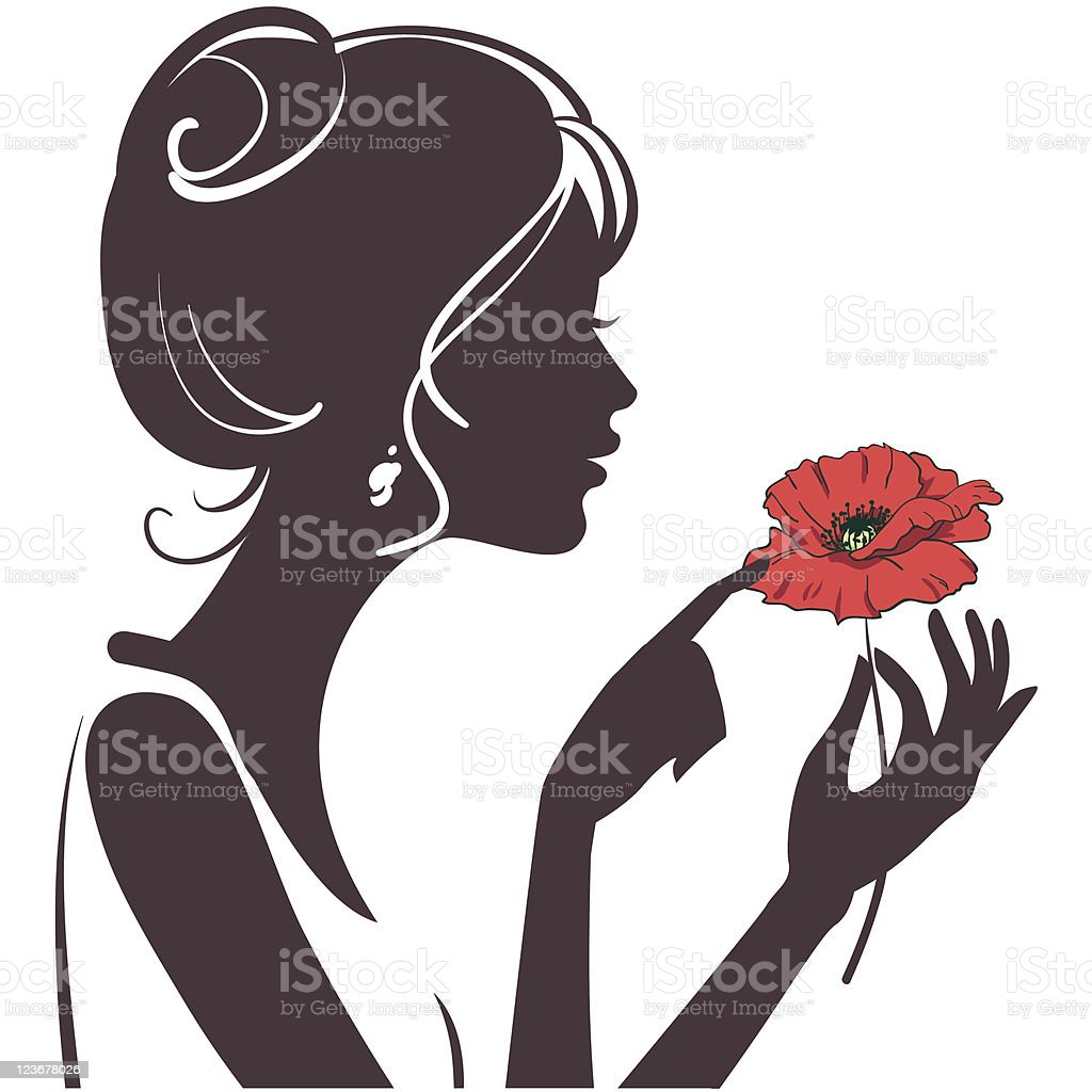 Beautiful girl Silhouette with poppy vector art illustration