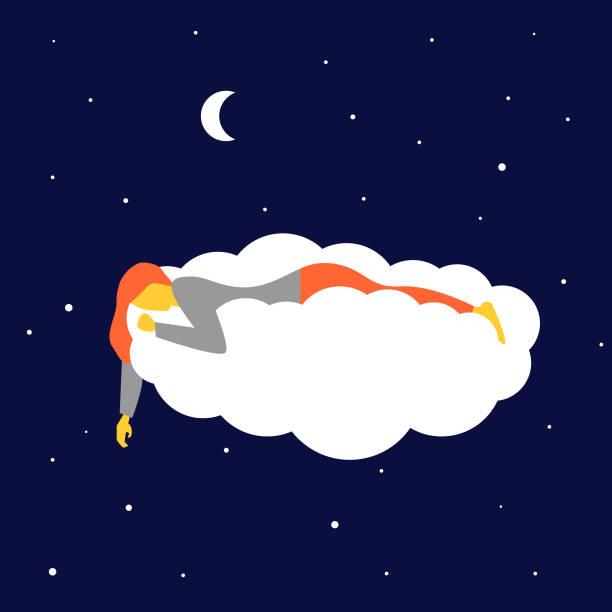 bildbanksillustrationer, clip art samt tecknat material och ikoner med vacker flicka sover och drömmer i molnen. - stillsam scen