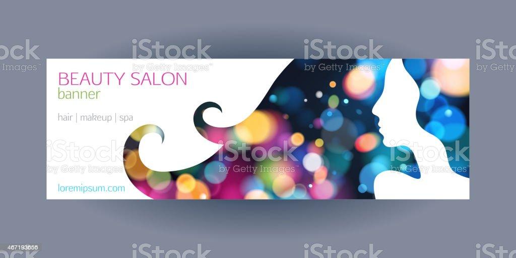Beautiful girl spa salon banner template. vector art illustration