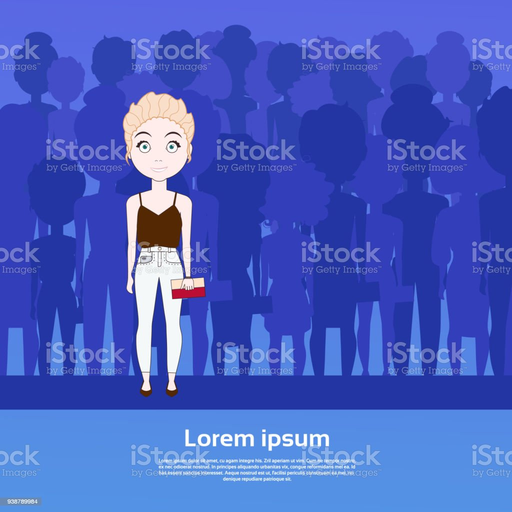 Beautiful Girl Standing Out Of Crowd Over Silhouette People Group With Copy Space Background vector art illustration