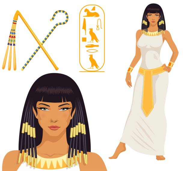 beautiful girl stylized into Cleopatra, her name written in Egyptian hieroglyphics and pharaoh symbols EPS10 vector file egyptian culture stock illustrations