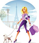 Beautiful girl walking her dog in Paris. High Resolution JPG,CS5 AI and Illustrator 0.8 EPS included.