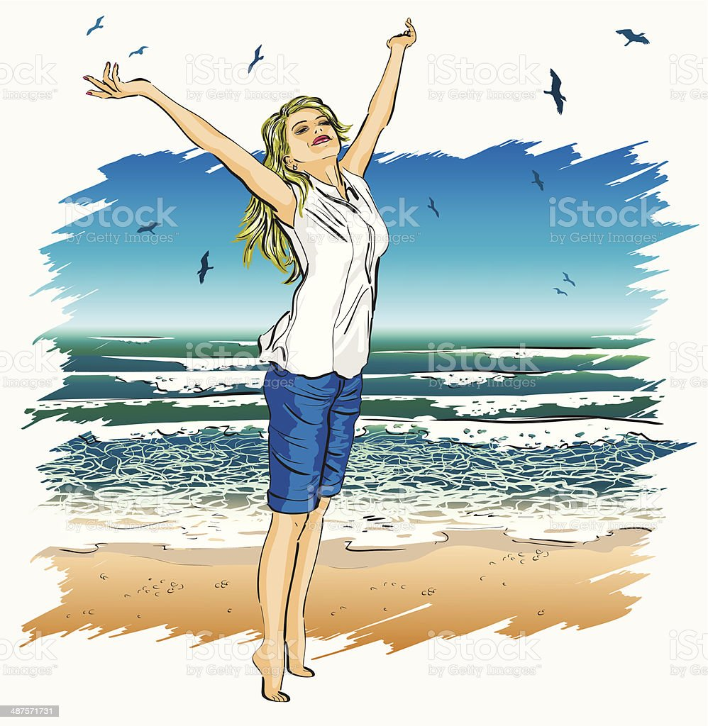 beautiful girl with arms outstretched on a tropical beach vector art illustration