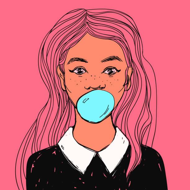 illustrations, cliparts, dessins animés et icônes de belle fille avec bubble-gum, les cheveux longs et les cols blancs. main de vecteur dessiné pop art illustration. - femme tache de rousseur