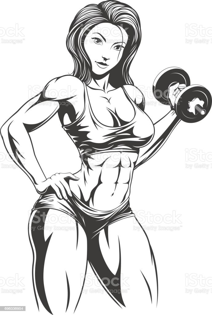 Beautiful girl with dumbbells vector art illustration