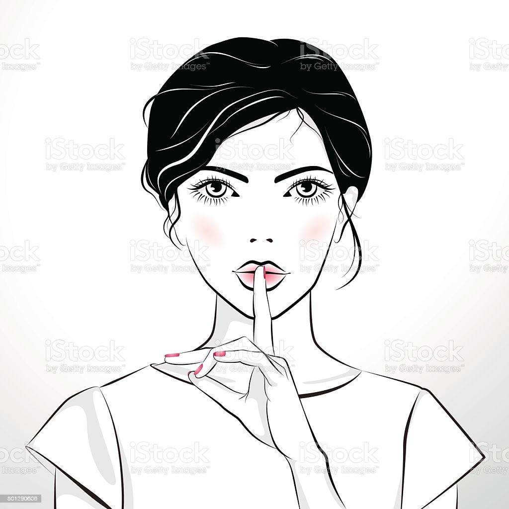 Beautiful girl with finger on her lips vector art illustration
