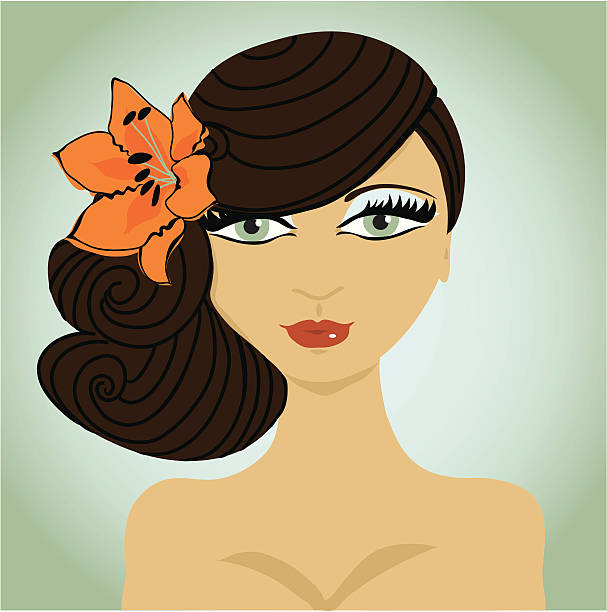 Beautiful girl with flower in hair. vector art illustration