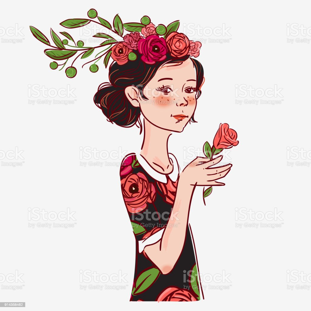 Beautiful Girl With Flowers Stock Vector Art More Images Of Art
