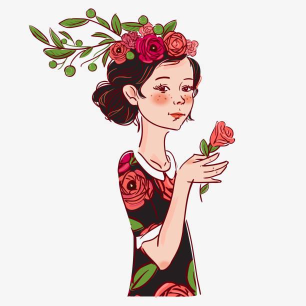 schönes mädchen mit blumen - pflanzenhaar stock-grafiken, -clipart, -cartoons und -symbole