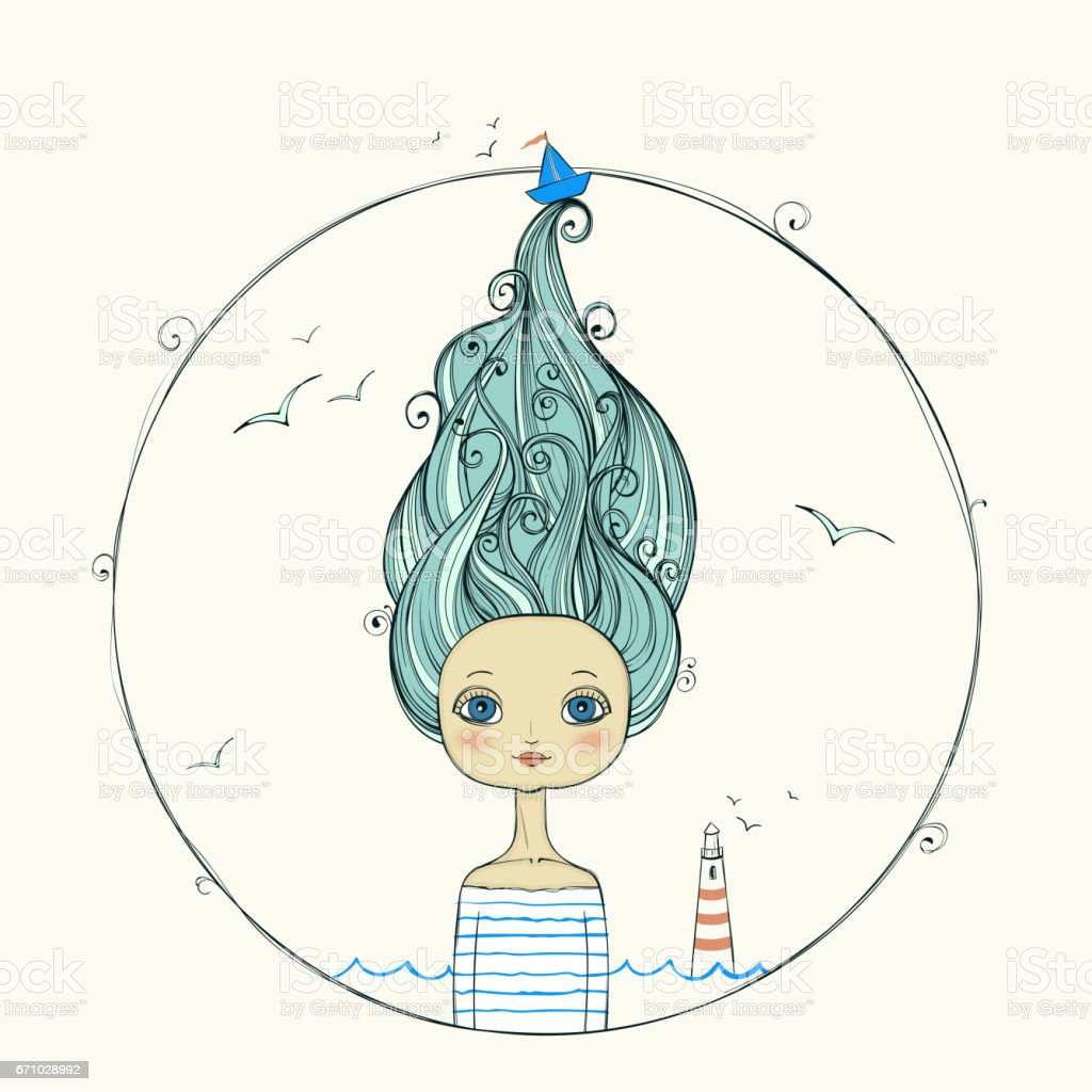 beautiful girl with flying hair on marine background. vector art illustration