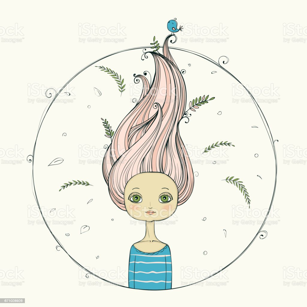beautiful girl with flying hair on summer background vector art illustration