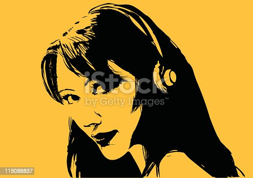 istock Beautiful girl with headphones 115088837