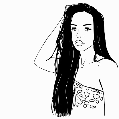 Beautiful girl with long hair.