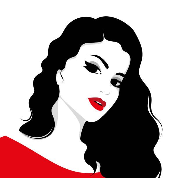 stockillustraties, clipart, cartoons en iconen met mooi meisje met lang haar - golvend haar