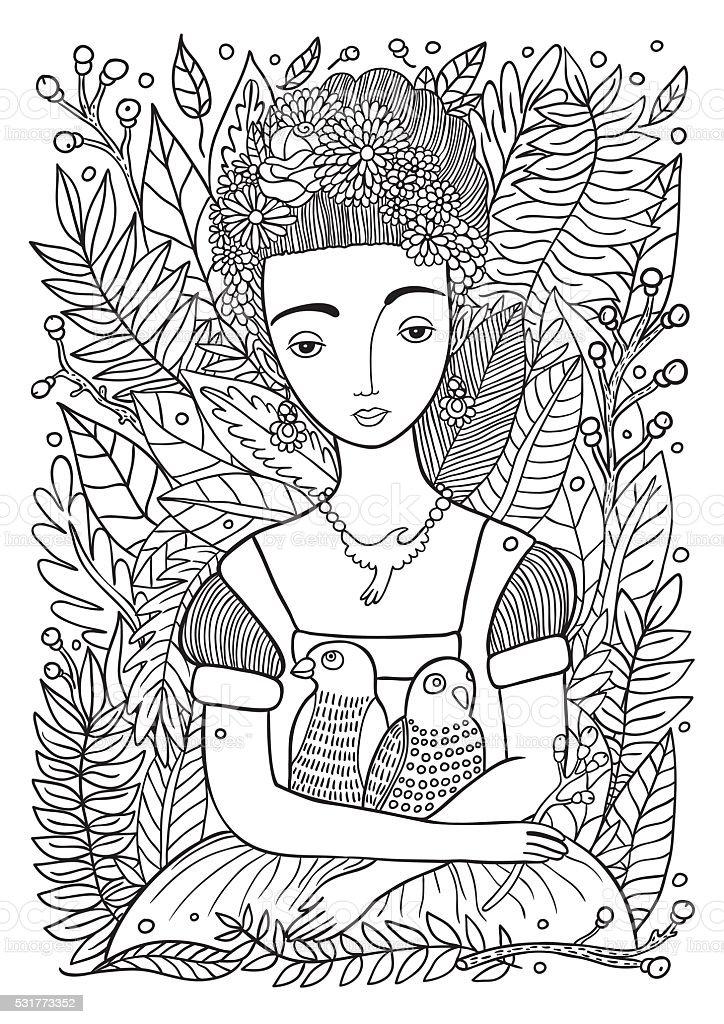 Ilustración de Hermosa Chica Con Loros Página Para Colorear y más ...