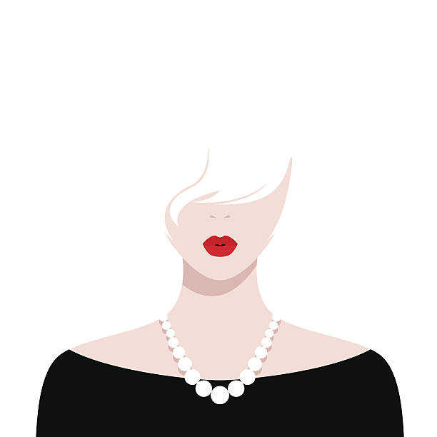 ilustraciones, imágenes clip art, dibujos animados e iconos de stock de beautiful girl with red lips and white hair - moda de maquillaje