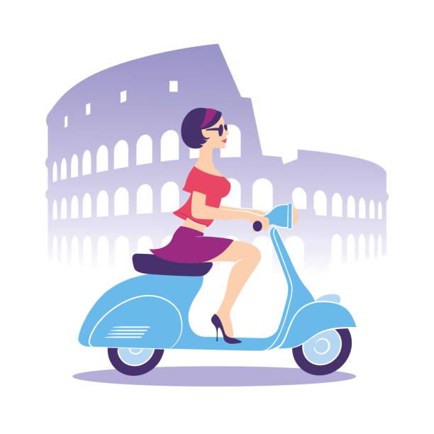 schöne mädchen mit scooter - fahrzeug fahren stock-grafiken, -clipart, -cartoons und -symbole