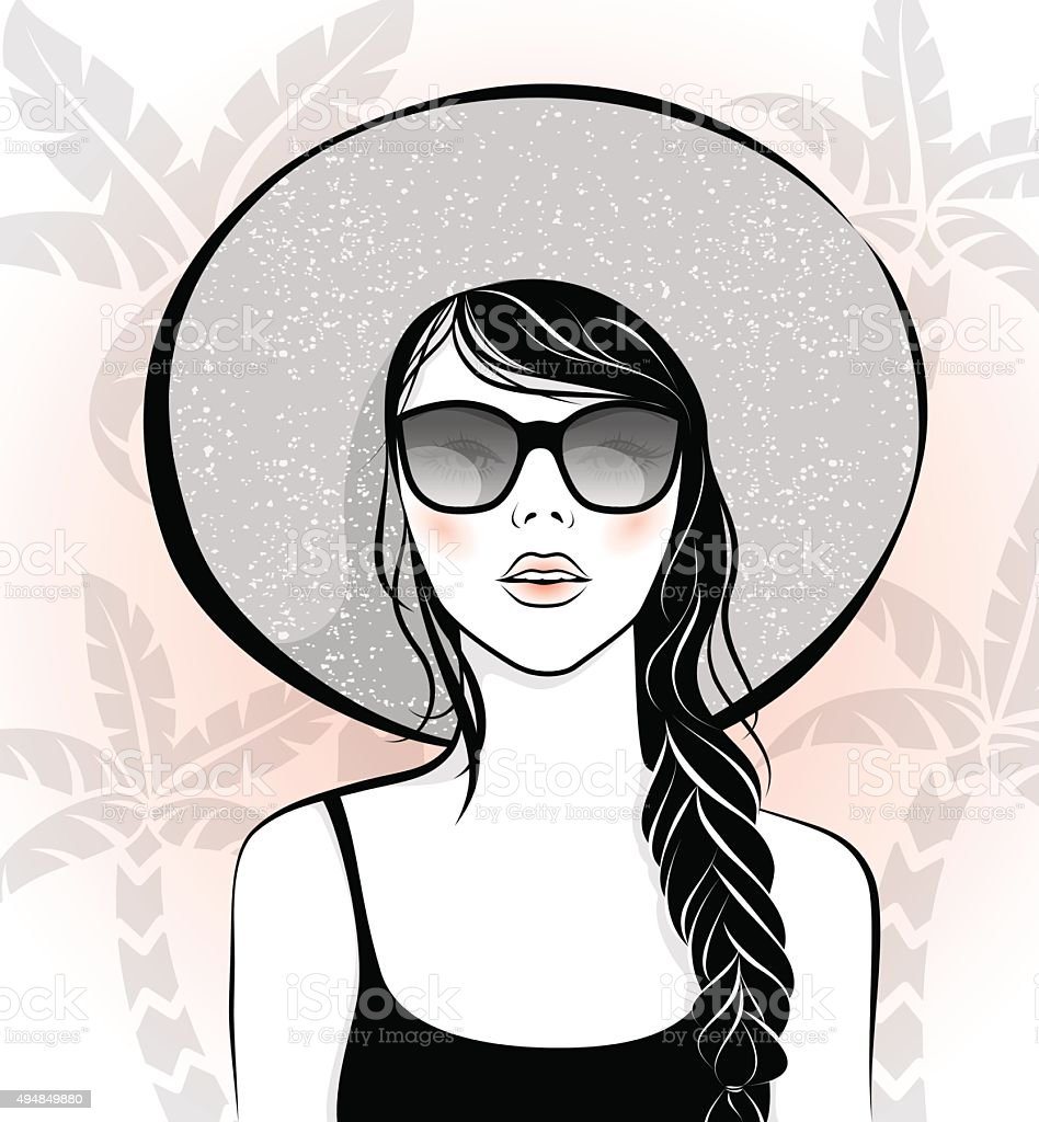 Beautiful girl with sunglasses and hat vector art illustration