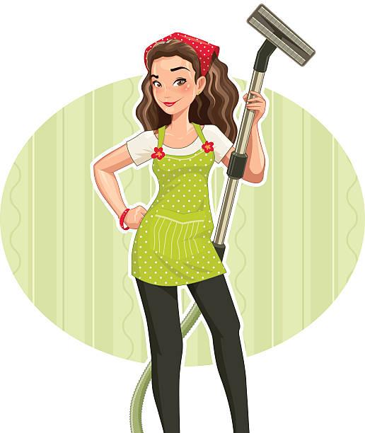 illustrazioni stock, clip art, cartoni animati e icone di tendenza di bella ragazza con vakuum clenar - cameriera