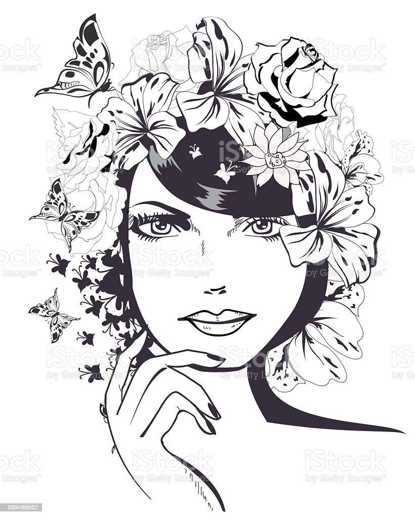 Beautiful Girls Face Stock Illustration