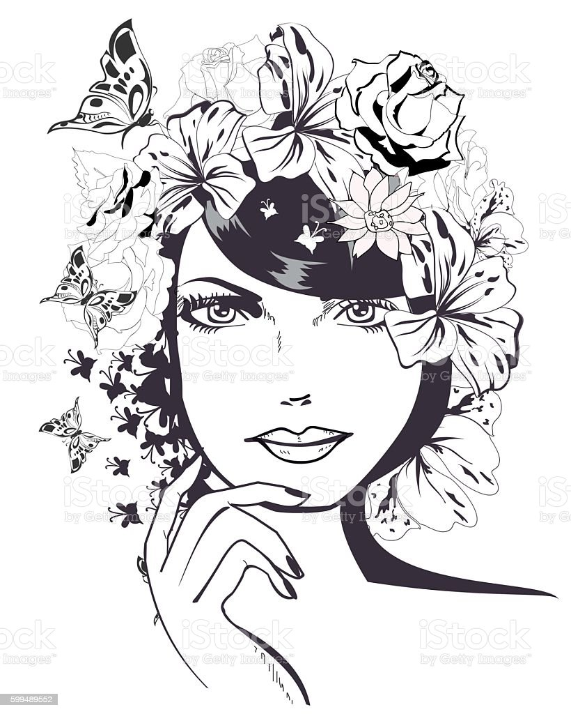 Beautiful girl's face. vector art illustration