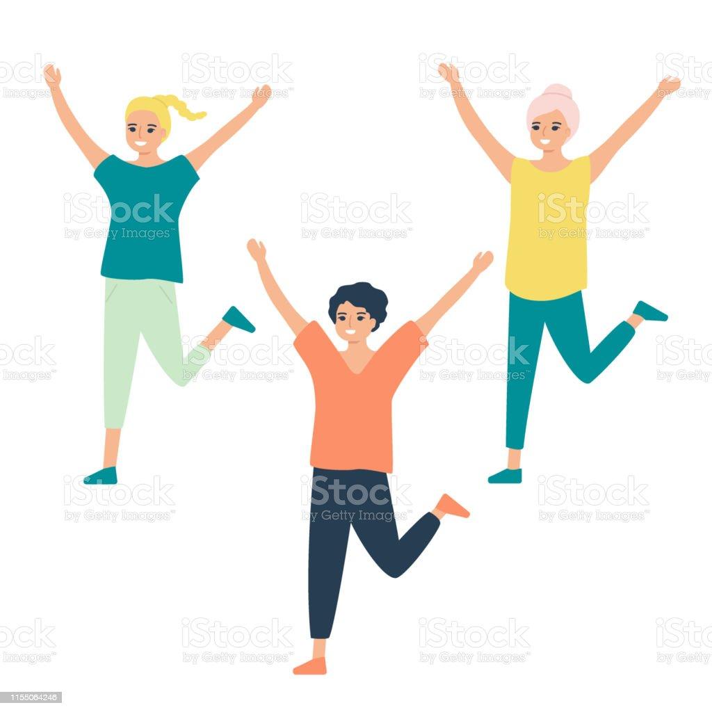 Beautiful girls train, play sports, dance. Sports group warm-up,...