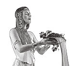 Beautiful Goddess pouring wine