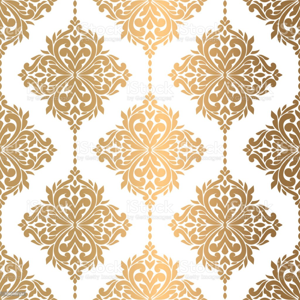 Beautiful Gold And White Floral Seamless Pattern Vintage Vector