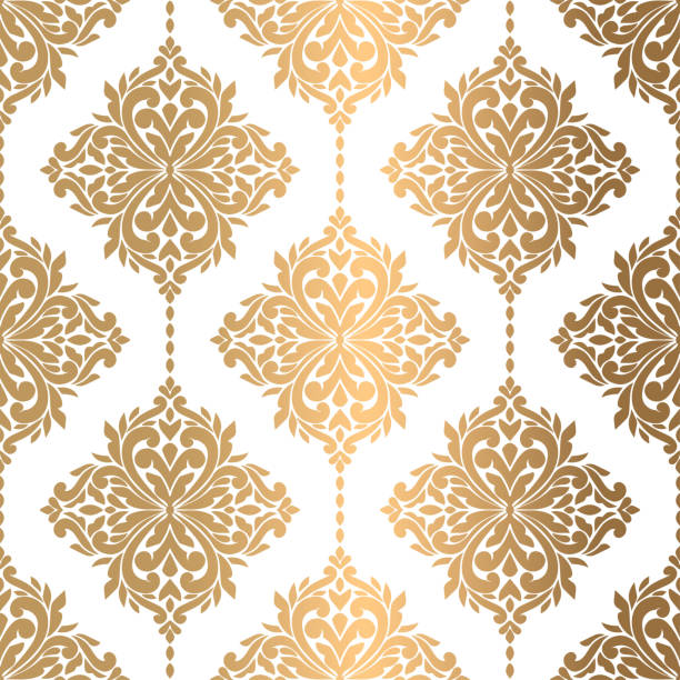 ilustrações de stock, clip art, desenhos animados e ícones de beautiful gold and white floral seamless pattern. vintage vector, paisley elements. traditional,turkish, indian motifs. great for fabric and textile, wallpaper, packaging or any desired idea. - home decor boho