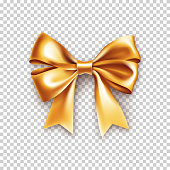 Beautiful gold ribbon bow with shadow isolated on transparent background. Realistic decoration for holidays gifts. Beautiful decor object vector illustration. Wedding or valentine's day decoration.