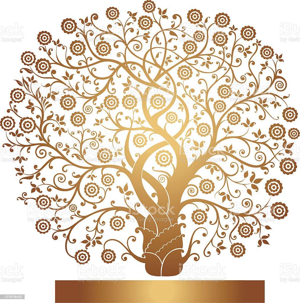 Beautiful gold tree royalty-free stock vector art