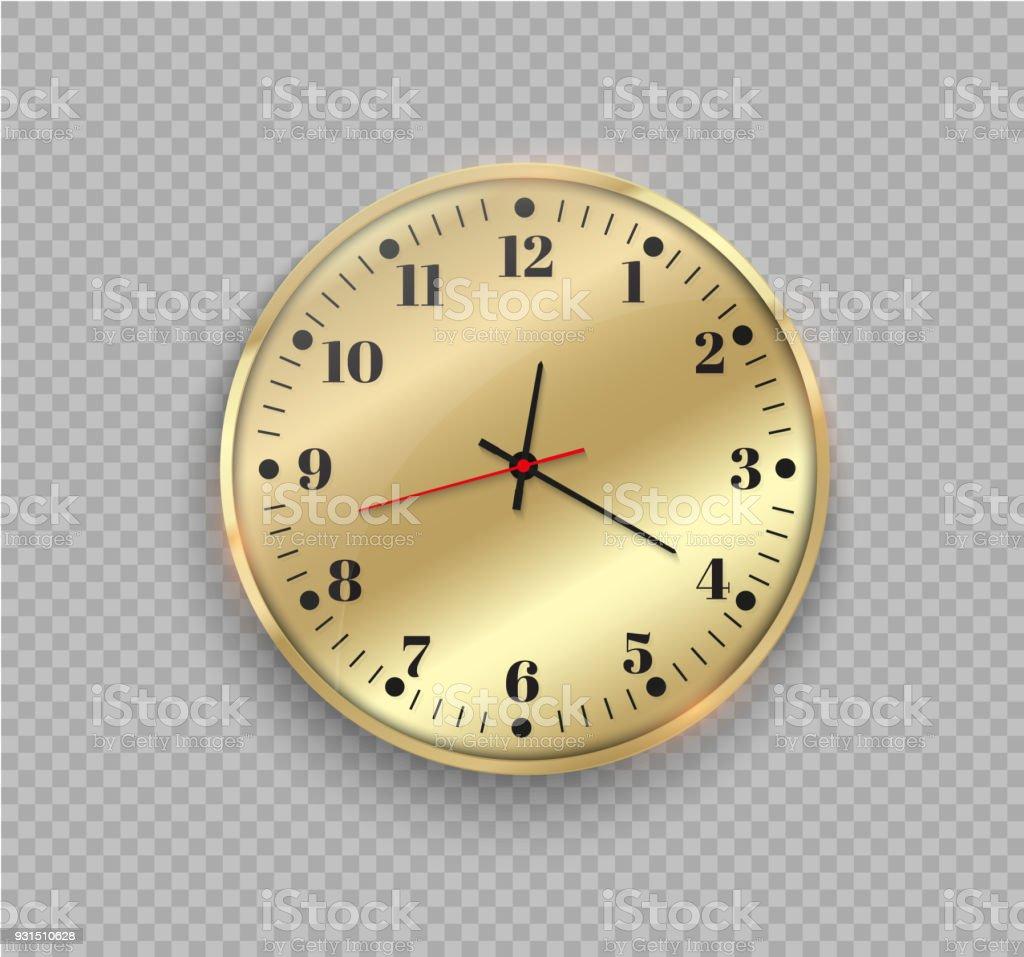 Ilustración de Reloj De Pared De Oro Hermosa Con Ribete Dorado ...