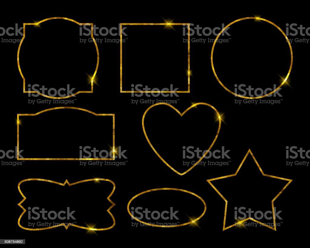 Schöne Goldene Bilderrahmen Satz Luxus Vektorillustration Vektor ...