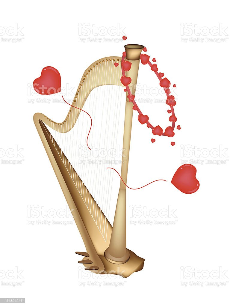Beautiful Golden Harp Playing Love Song vector art illustration