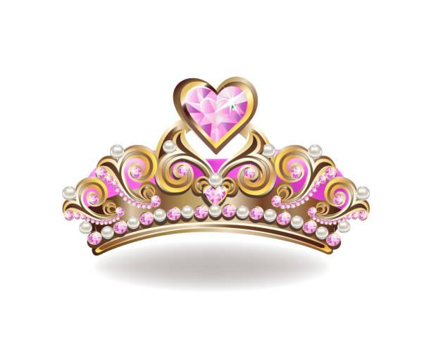illustrations, cliparts, dessins animés et icônes de belle couronne de princesse d'or - diademe