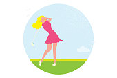 Beautiful golf girl. Female golfer. Sport game Tournament.