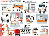 beautiful graphic design of popular careers: doctor,dentist,pilot,cabin crew,engineer,architect,teacher,businessman,chef,assistant chef,psychiatrist,scientist,firefighter,soldier,police,artist