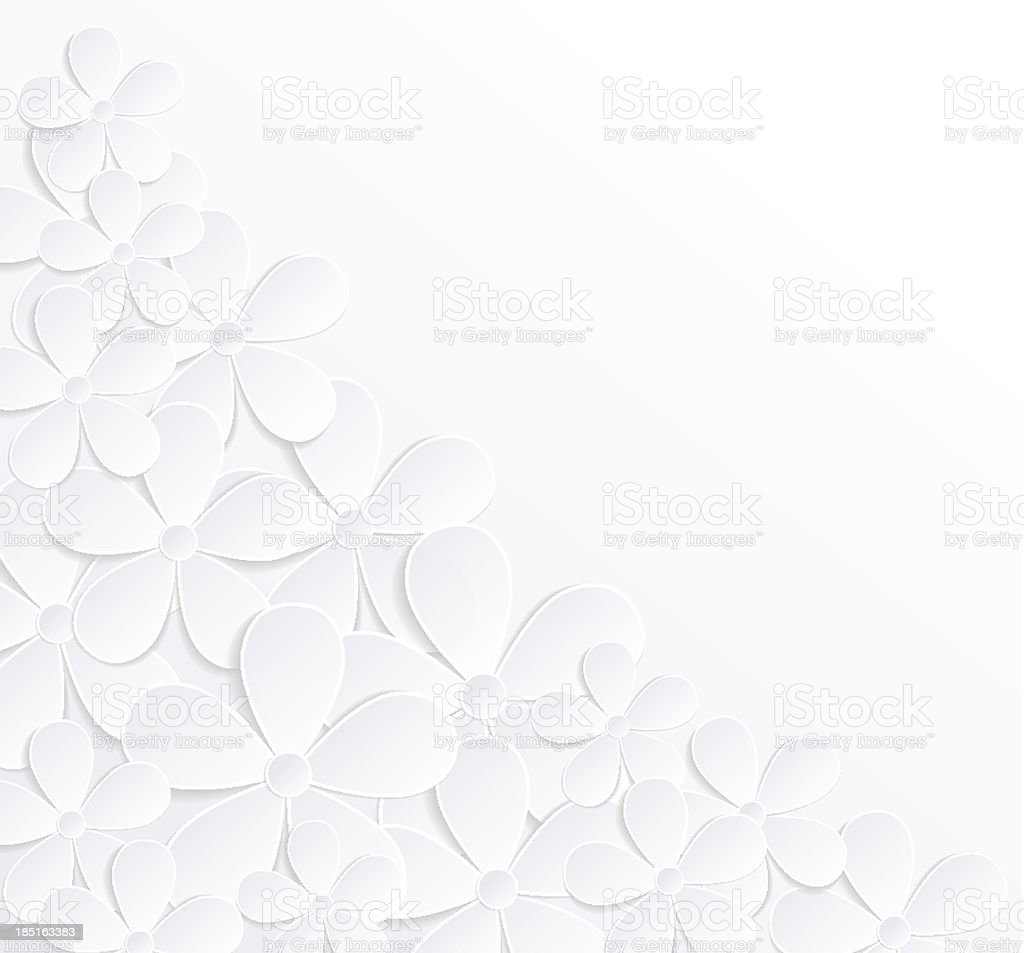 beautiful gray and white background with flowers made of paper vektör sanat illüstrasyonu
