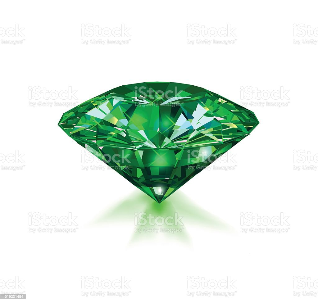 Beautiful green gem emerald on white background. vector art illustration