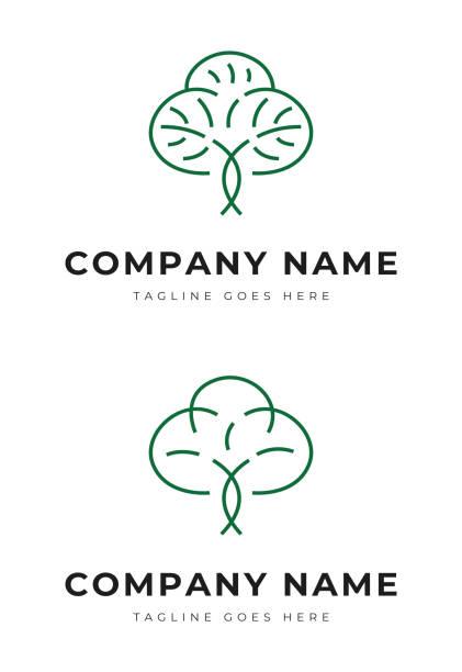 Beautiful green plant tree garden park logo identity vector art illustration